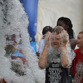 Good Clean Fun by Thomas Shaw - People Street & Candids ( soapsuds, fun, kids, machine, the works, raleigh, north carolina, playing, suds, clean, boys, having, soap, boy, foam )