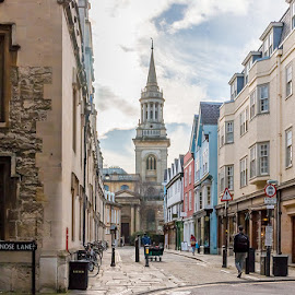 Brasenose Lane, Oxford by Jackie Matthews - City,  Street & Park  Street Scenes ( church, street, oxford, shopping )