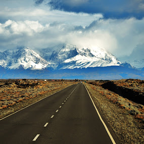 On the road by My 1st Impressions - Landscapes Travel ( argentina, andes, glacier, mountain, patagonia, south america, snow, pampa, road )