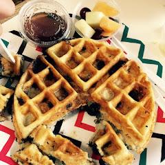 Gluten free blueberry Belgian waffle. So so delicious and celiac friendly (I have Celiac)!!