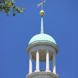Central Moravian Steeple by Chris Snyder - Buildings & Architecture Places of Worship ( moravian, moravian church, steeple, church, pa, clock, central moravian church, columns, pennsylvania, pillar, bethlehem pa )