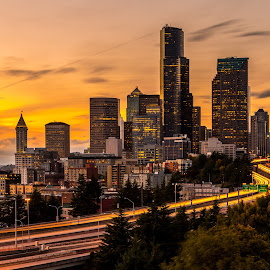 Beautiful Seattle by Bill Kuhn - City,  Street & Park  Skylines ( interstate, skyline, puget sound, seattle, sunset, buildings, long exposure, cityscape, freeway, downtown )
