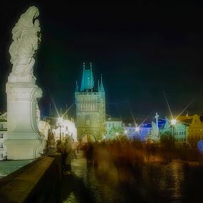 Charles Bridge at night - Prague, CZECH by Krzysiek Roznowski - City,  Street & Park  Historic Districts ( czech, night, prague, charles bridge, sigma dp1x )