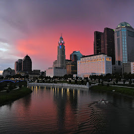 Columbus Ohio at Dusk on 4th of July by Karen Gorski - City,  Street & Park  City Parks