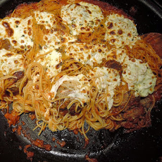 Skillet-Baked Spaghetti and Meatballs
