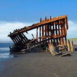 Photographing the Peter Iredale by Jerry Donovan - Landscapes Travel ( photographers, oregon, rusting, shipwreck, remains, photographing, photographer, peter iredale, photographers taking a photo, taking a photo, snapping a shot )