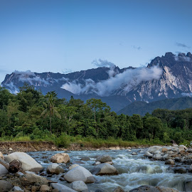 Mt,Kinabalu view after earthquake by Ted Khiong Liew - Landscapes Waterscapes ( water, mountain, trees, rock, river )