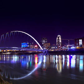 Bridge over troubled water by Chad Heggen - City,  Street & Park  Night ( iowa, winter, cold, dark, buildings, city life, night, flow, bridge, des moines, city, river )