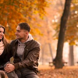 Love by Dan Revan - People Couples ( love, park, autumn, couple, portrait )