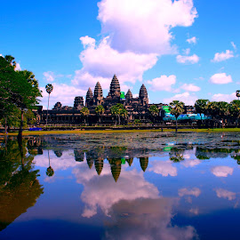 reflection by Dean Moriarty - Buildings & Architecture Places of Worship ( clouds, ankor wat, temple, reflection, sky, blue, worship, cambodia )