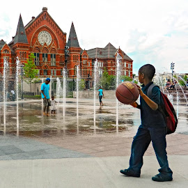 Let's Play! by Richard Michael Lingo - City,  Street & Park  City Parks ( water, basketball, ball, school, fountain,  )
