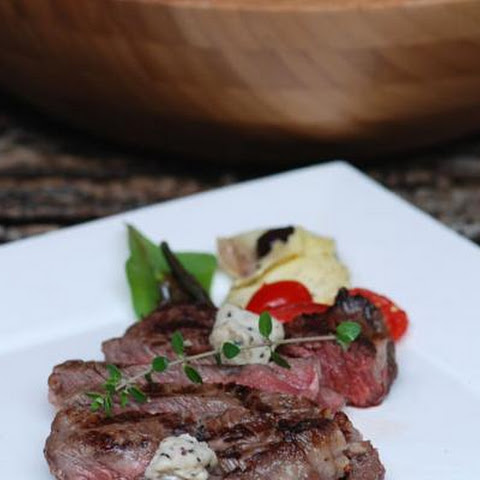Grilled Ribeye Steak With Black Truffle Butter Buttons