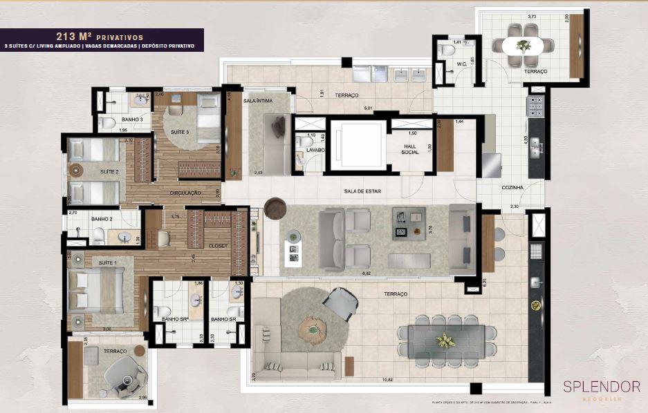 Planta Opção - 213 m²
