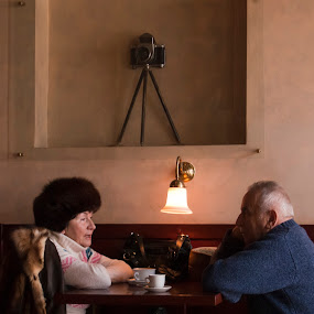 old couple in a krakow bar by Worowsky Papa - People Couples ( love, old, camera, coffee, couple, old people, grandmother )