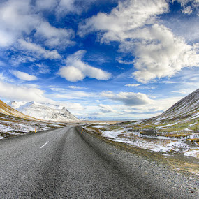 Mountain View by Luca Libralato - Backgrounds Nature ( clouds, iceland, mountain, snow, road )