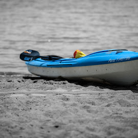 Pursuit by Scott Thiel - Transportation Boats ( water, colour, sand, b&w, canada, st lawrence, ontario, beach, boat, kayak, paddle, river,  )