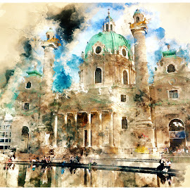 St. Charles' Church by Alessandro Calzolaro - Digital Art Places ( watercolor, vienna, effect, church, art, illustration, retouch, photoshop )