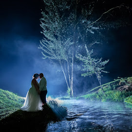 River by Lodewyk W Goosen (LWG Photo) - Wedding Bride & Groom ( wedding photography, wedding photographers, husband wife, love, wedding, weddings, wedding day, couple, bride and groom, wedding photographer, bride, groom, mist, river, bride groom )