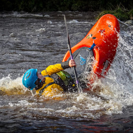 White water Canoeist by Andrew Lancaster - Sports & Fitness Watersports ( sportsman, water, splash, waterscape, waves, sport, canoe, helmet, white water, paddle )