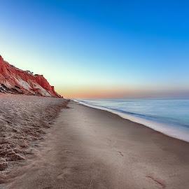 Your steps towards to me by Pedro Silva - Landscapes Beaches ( sand, sea, pedrosilvaimages, beach, steps, albufeira, 5dmkiii, algarve, long exposure, sunrise, portugal, pedro silva, rocks )