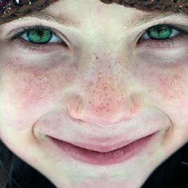 Cold Face by Sandy Considine - Babies & Children Child Portraits ( child, face, orange hat )