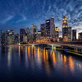 by Gordon Koh - City,  Street & Park  Night ( shenton way, clouds, skyline, travel, cityscape, singapore )