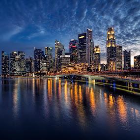 by Gordon Koh - City,  Street & Park  Night ( shenton way, clouds, skyline, travel, cityscape, singapore,  )