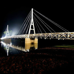 Suspension Glow by Bob White - City,  Street & Park  Night ( lighting, night, bridge, longexposure, river,  )