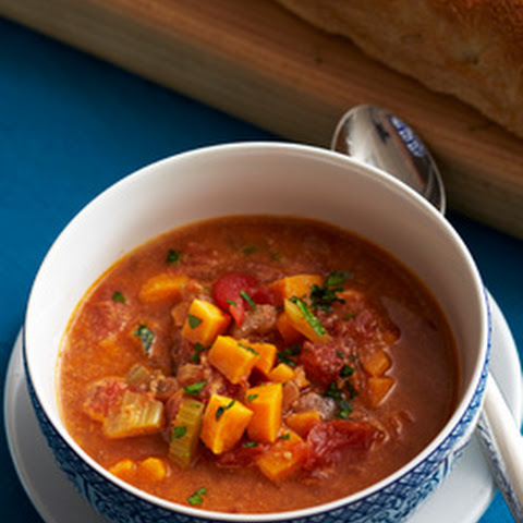 Moroccan Tomato and Sweet Potato Soup with Peanut