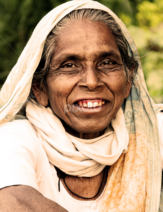 Old Smile by Amit Chakraborty - People Portraits of Women