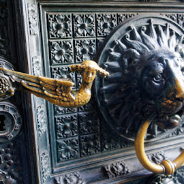Door of Cologne Cathedral by Johannes Oehl - Buildings & Architecture Architectural Detail ( tourist attraction, cologne, old, gothic, north rhine-westphalia, door, medieval architecture, architecture, historic, ancient, color image, metal, religious symbol, lionhead, germany, church door, door handle, european culture, christian art, art, architecture-photography, unesco, angel, sculpture, european, outdoors, art-photography, roman catholic church, nordrhein-westfalen, cathedral, catholic church, outside, culture )