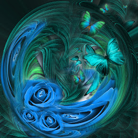 SPHERA by Carmen Velcic - Illustration Abstract & Patterns ( abstract, blue, green, roses, flowers, digital )