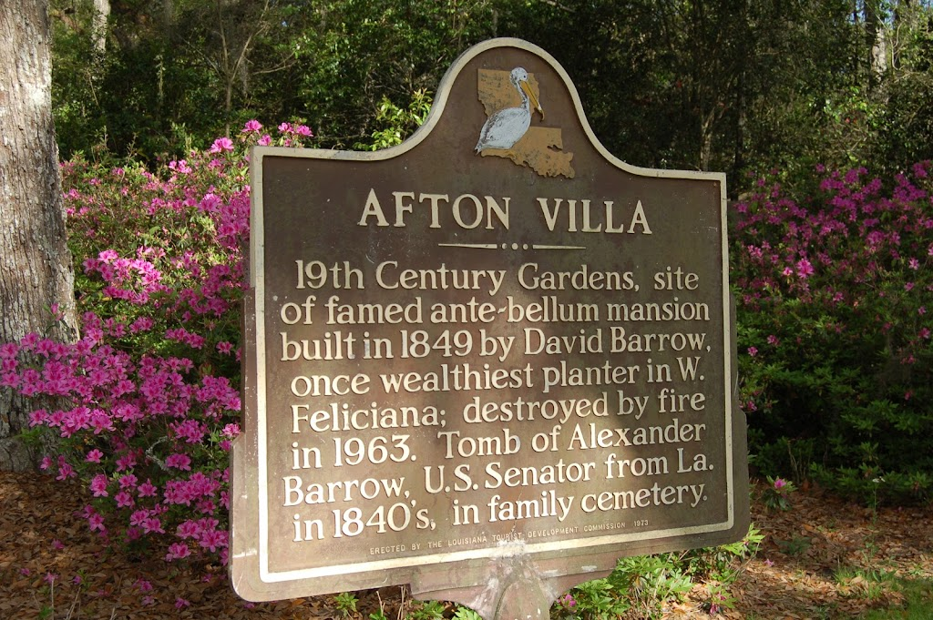 19th Century Gardens, site of famed ante-bellum mansion built in 1849 by David Barrow, once wealthiest planter in W. Feliciana; destroyed by fire in 1963. Tomb of Alexander Barrow, U.S. Senator from ...