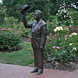 Royal Rosarian by Leise Wease  Photography - Buildings & Architecture Statues & Monuments ( dapper, statue, lifelike, roses, garden,  )