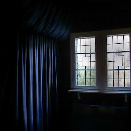 Fenster by Elke Krone - Buildings & Architecture Architectural Detail ( schwarz, blau, vorhang, licht, fenster )