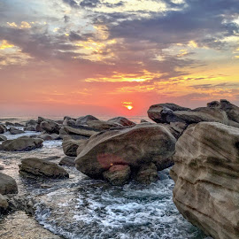 sunrise over the rocks  by Peter Schoeman - Instagram & Mobile iPhone ( sand, sea, beach, sunrise, rocks )