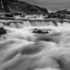 Southern Iceland by Henry Chu - Landscapes Waterscapes ( water, iceland, black and white, cascade )