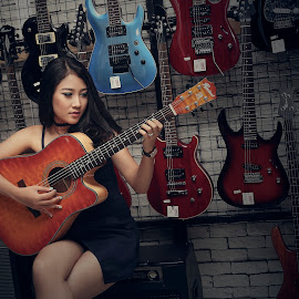 With My Guitars by Vendhie Zhang - People Musicians & Entertainers ( #music#guitar#beauty#lady )
