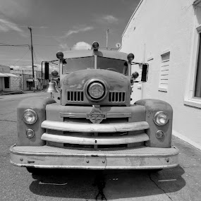Seagrave Fire Apparatus  by Rick Covert - Transportation Other ( firefighter, vintage, arkansas, antique, black and white, firetruck )