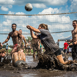 Half Way In The Mud by T Sco - Sports & Fitness Watersports ( water, muddy, mud, sports, dirty, sport, mud volleyball, match, game, volley, dirt )