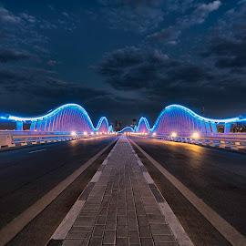 Meydan Bridge Blue Hour by Souhayl Bk - City,  Street & Park  Night ( meydan bridge, dubai, uae )