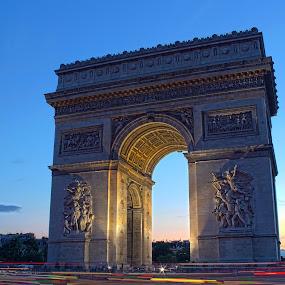 Arc de Triomphe by Matej Skubic - Buildings & Architecture Statues & Monuments ( lights, paris, arc, pariz, triomphe )