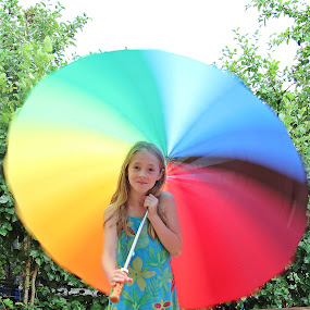 I have a rainbow! by Gi Po - Babies & Children Children Candids ( girl, umbrella, ance pole, rainbow )