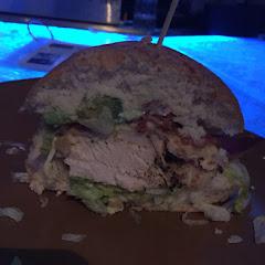 Chicken and bacon sandwich on a gluten free bun