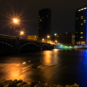 Grand Rapids by Nicholas Conn - City,  Street & Park  Skylines ( water, michigan, skyline, grand rapids, night, bridge )