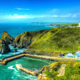 Mullion Cove, Cornwall by Steve Rowe - Digital Art Places