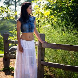 Athena by David Lawrence - People Fashion ( fence, pose, model, park, dress, casual, morning, walk )