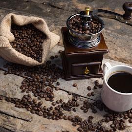 Coffee by Dedi Wahyudi - Food & Drink Ingredients ( bean, coffee beans, grinder, coffee, coffee cup )