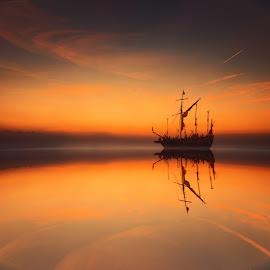 The longest wave by Hendrik Mändla - Digital Art Places ( water, sunset, ship, sea, landscape )