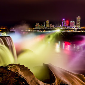 Niagara Falls at Night by Wenjie Qiao - City,  Street & Park  Skylines ( niagara falls, light show )
